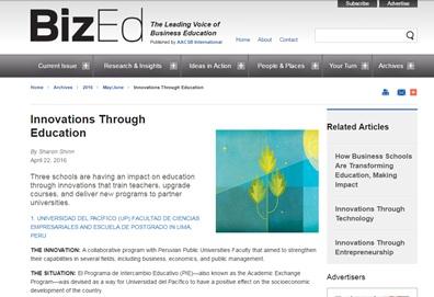 Artículo dedicado al Programa PIE UP en BizEd Magazine (AACSB)